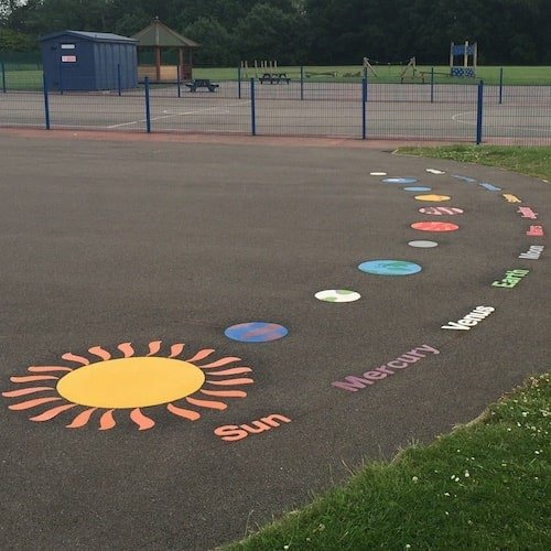 Playground Markings - Maps and Compasses - The Solar System On Site At Middlesbrough