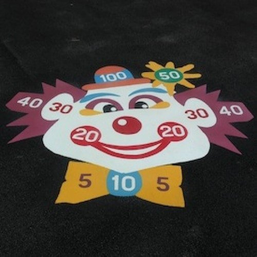 Playground Markings - Targets and Mazes - Clown Face Target On Site