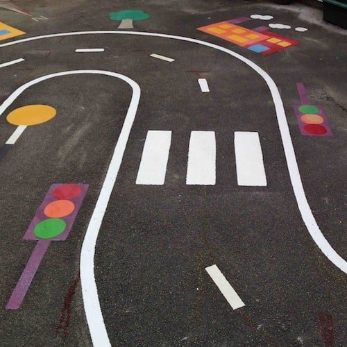 Playground Markings - Circuits Tracks and Trails - Zebra Crossing On Site