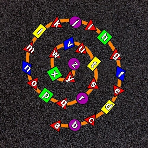 Playground Markings - Numeracy and Literacy - Alphabet Spiral Example