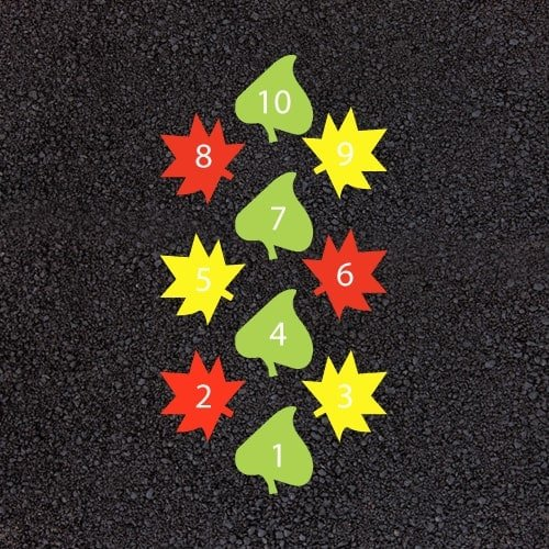 Playground Markings - Traditional Games - Leaf Hopscotch Example