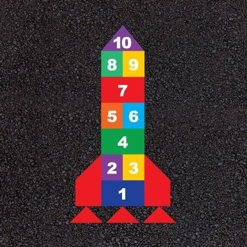Playground Markings - Traditional Games - Rocket Hopscotch Example