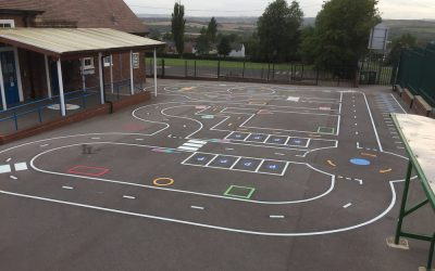 Thermoplastic Playground Markings at Birtley East Primary School in Gateshead