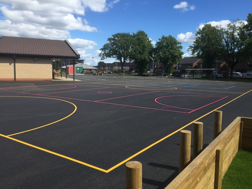 Football court with Netball Court at a Primary School in Paisley, Scotland