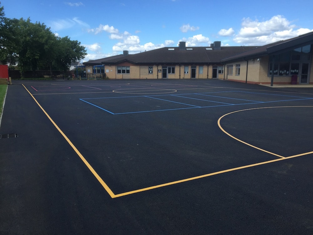 Football court with Volleyball Court at a Primary School in Paisley, Scotland