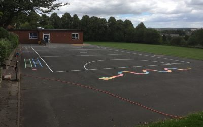 Thermoplastic Playground Markings at a Primary School in Bishop Aukland