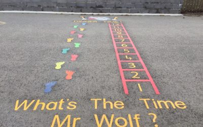 Thermoplastic Playground Markings at a Primary School in Hawick, Scotland.