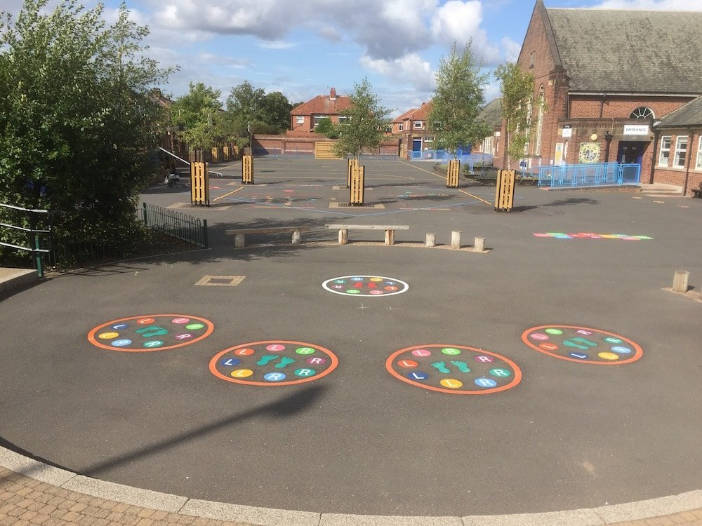 Key stage 2 world map at st marys primary school bristol the primary pe and sport premium funding for thermoplastic playground markings gumiabroncs Choice Image