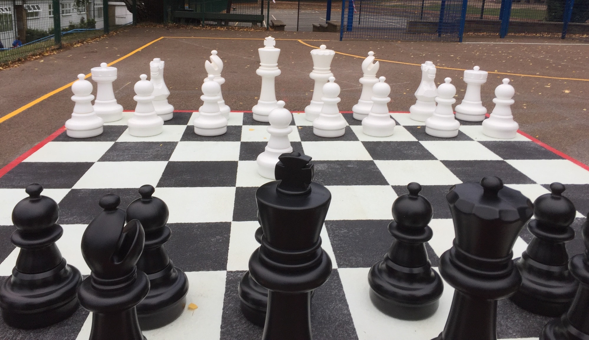 Giant Chess Set And Playground Chessboard Marking In London