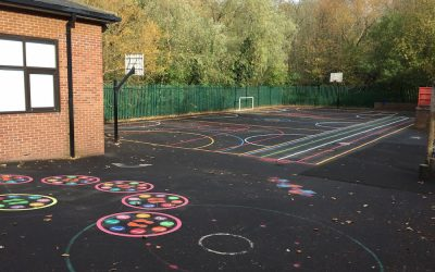Thermoplastic Playground Markings at St Theresa Primary School in Newcastle-Upon Tyne