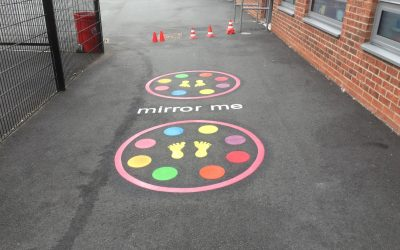 Thermoplastic Playground Markings at Front Street Primary School in Whickam, Gateshead