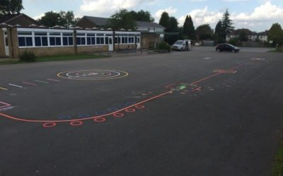 Thermoplastic Playground Markings at a Primary School in Bulkinington, Coventry