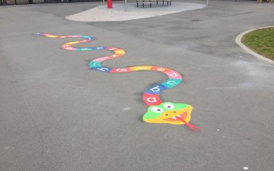Playground Markings at a Primary School in Inverurie, Scotland