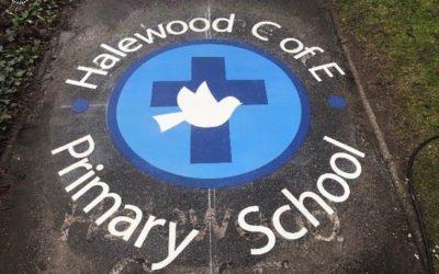 Thermoplastic School Logo at Halewood C of E Primary School, Liverpool