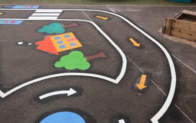 Colourful New Cycle Track on a little playground at South View Nursery in Newcastle upon Tyne