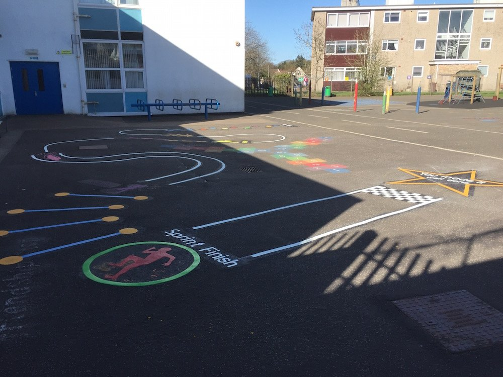Lively new markings brighten up a playground in Glasgow