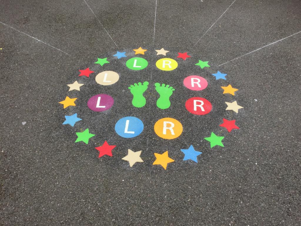 New playground markings at a primary school in Hayes in West London.