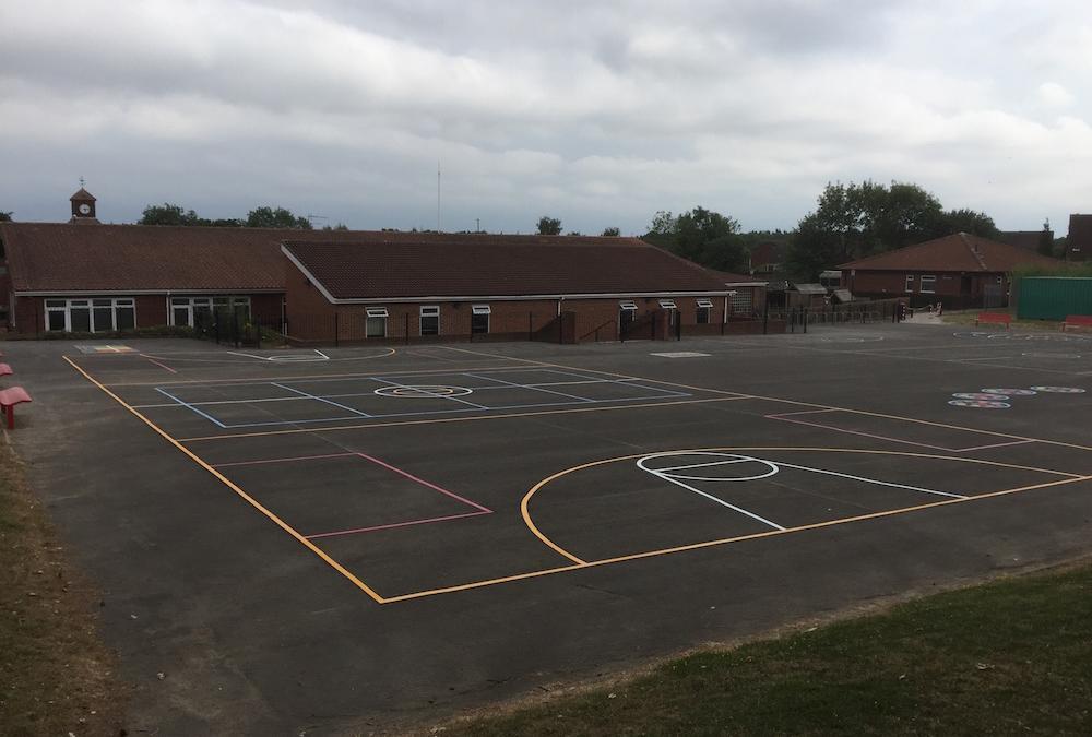 Vibrant new playground markings at Lambton Primary School