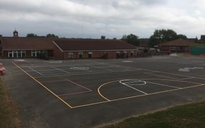 Vibrant new playground markings at Lambton Primary School