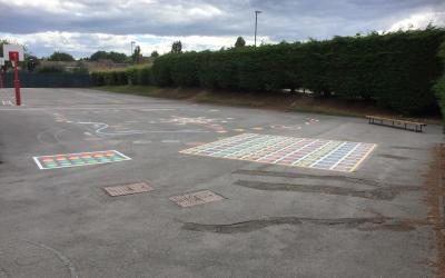 Vivid new markings at St Bede's Primary