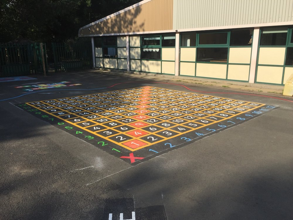 Vivid range of playground markings at Kingston Park Primary School