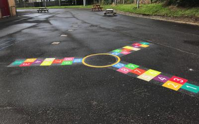 Bright new markings at a local Primary School in Edinburgh