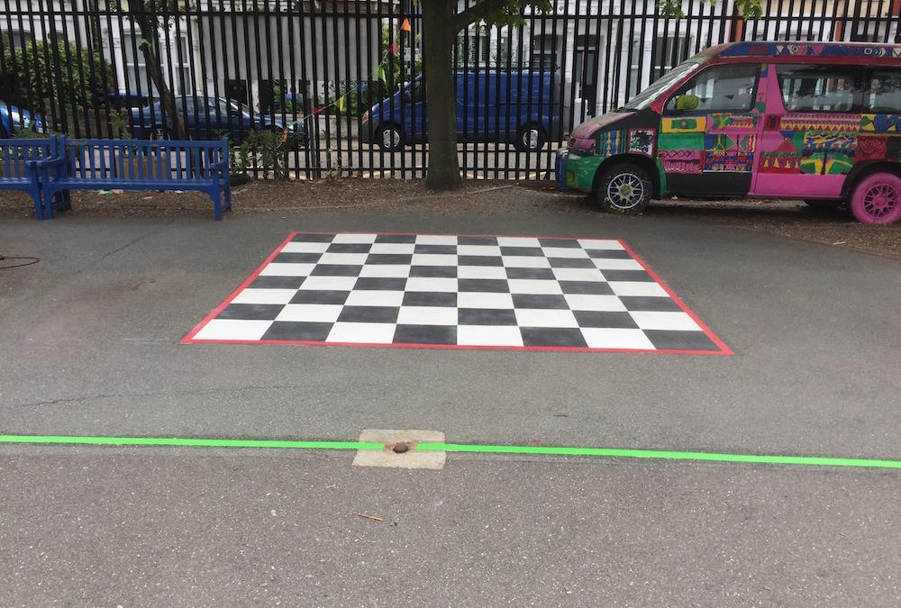 Brand new vivid playground markings at a Primary School in London