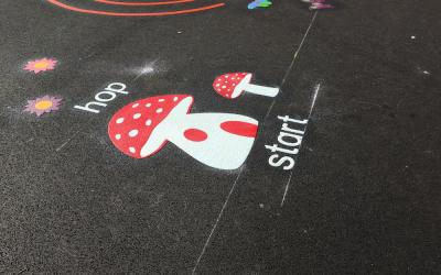 Vivid new playground markings at Eyrescroft Primary School
