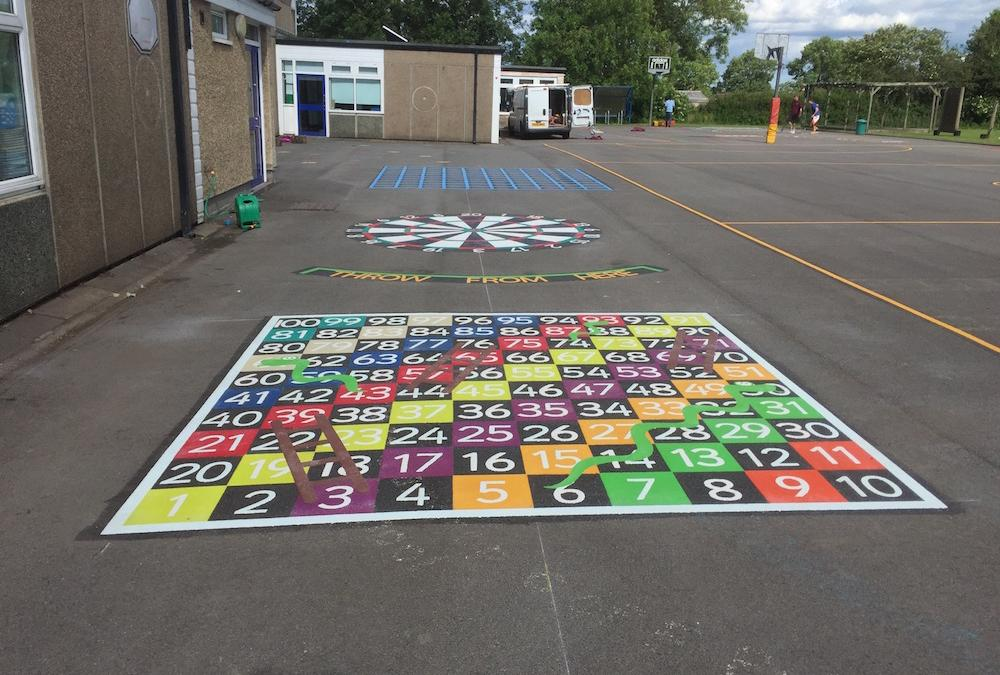 Bright new playground markings in Staindrop