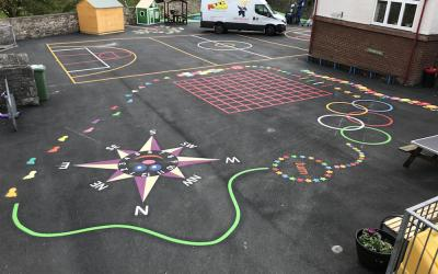 Bright new markings at Church Walk Primary School