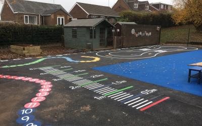 Vibrant new playground markings at Swinton Brookfield, South Yorkshire