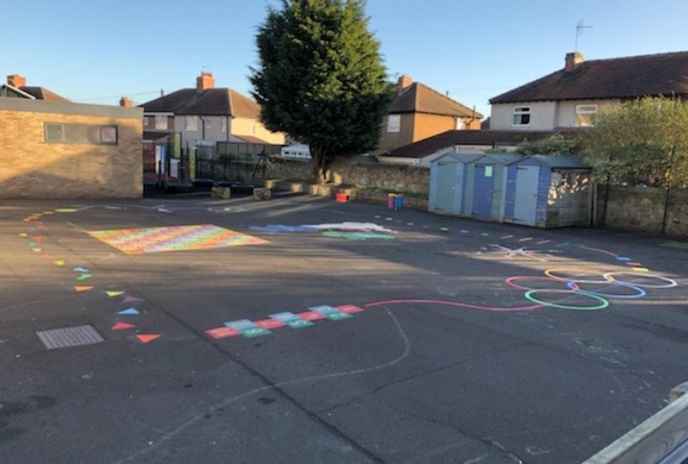 Fresh new playground markings at Amble First School
