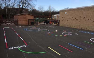 Vibrant new playground markings at Wylam first school