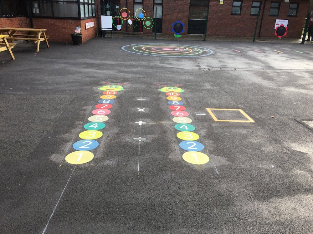 Vibrant new playground markings at Rickleton Primary School