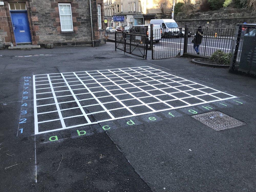 Bright new playground markings at South Morningside Primary