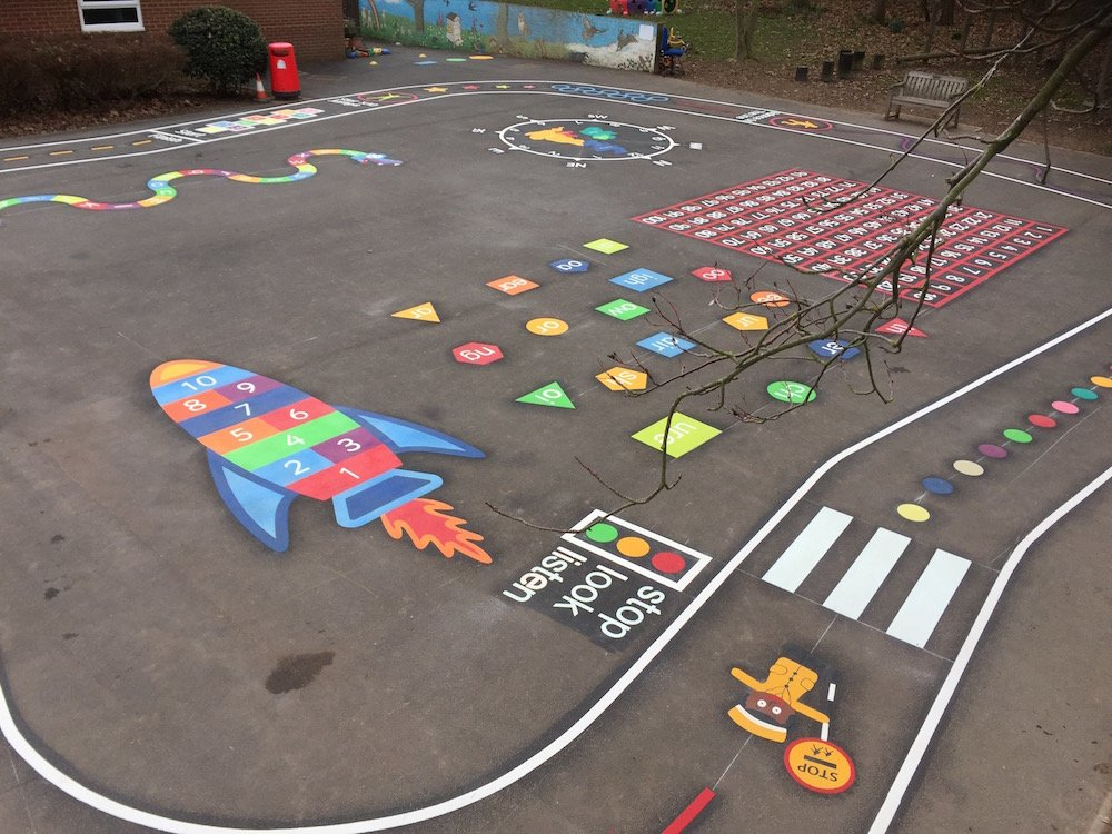 Exciting playground markings at Aston on Trent Primary School