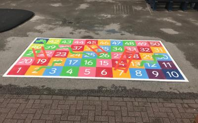 Vibrant new playground markings at a primary school in Birmingham