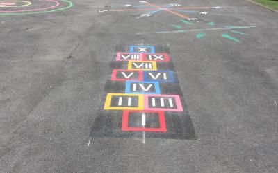 Vivid new playground markings at Charlesworth Primary School