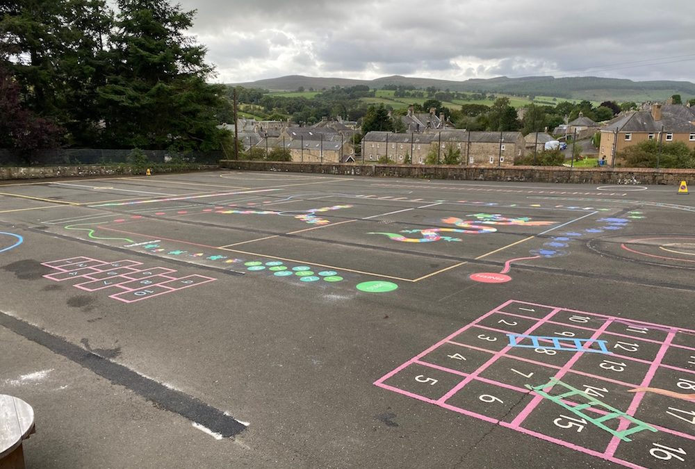 New Playgrounds Markings at Rothbury First School