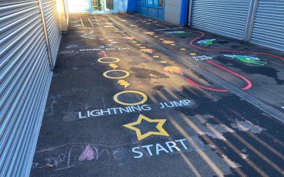 Vibrant new playground markings at Framwellgate Moor Primary School