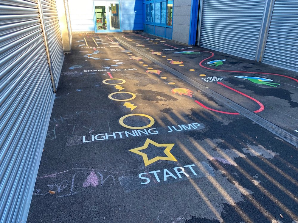 Vibrant new playground markings at Framwellgate Moor Primary School