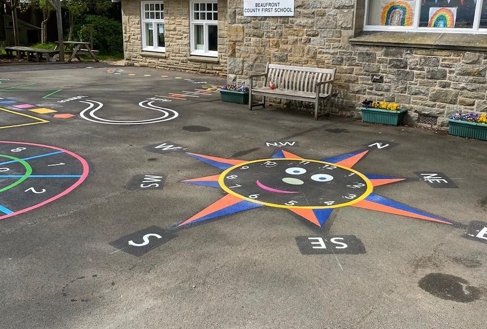 Neat new playground markings at Beaufront Country First School in Northumberland