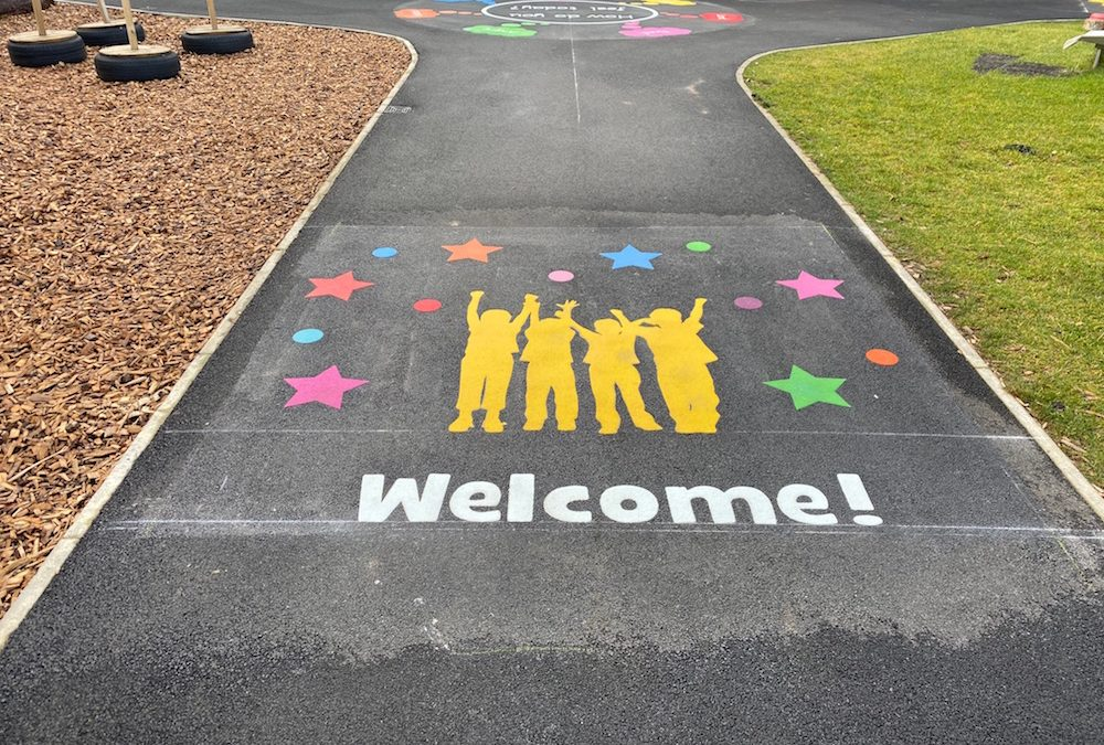 Vibrant new markings at Dinnington First School by first4playgrounds