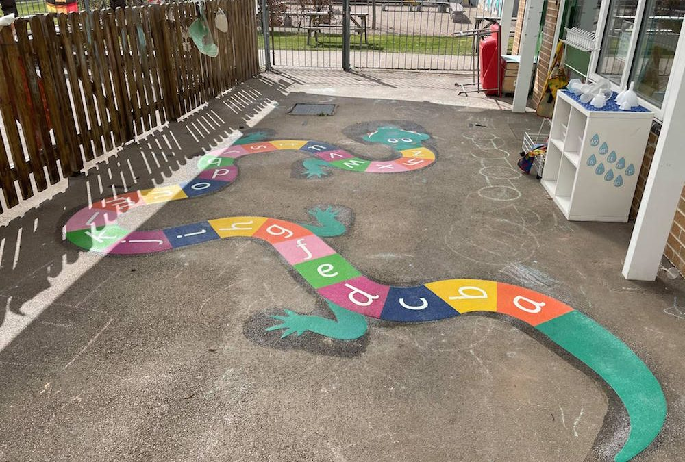 Vibrant new playground markings at a Primary School in Manchester
