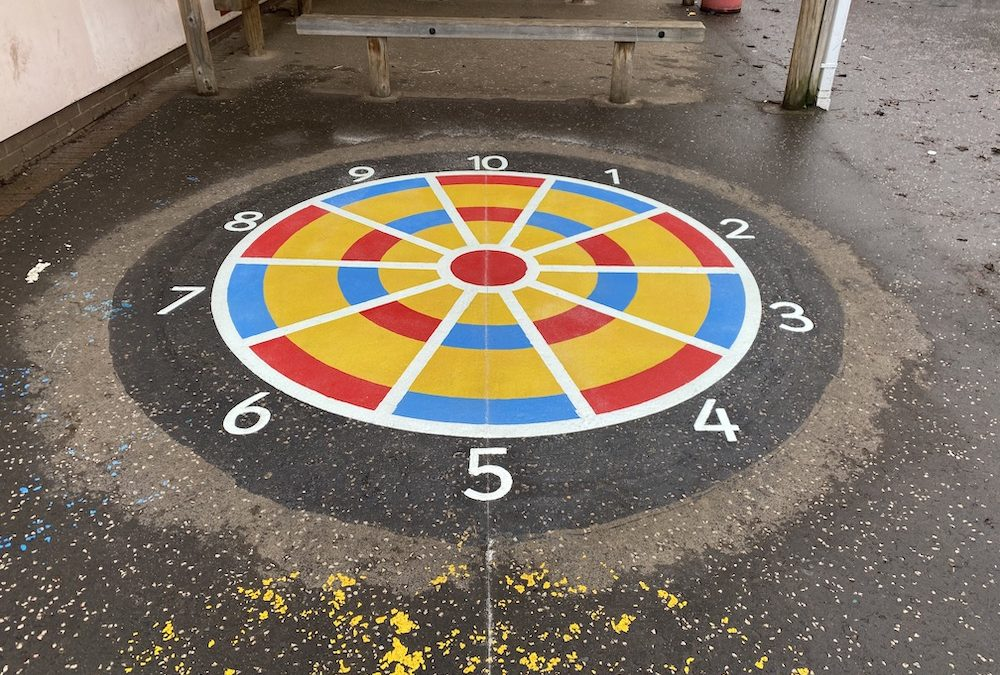 Vibrant new playground markings at a Primary School in Leeds